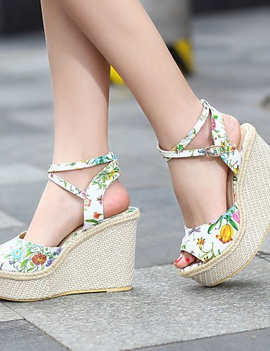 ShangYi Women's Shoes Heel Wedges / Heels / Peep Toe / Platform Sandals / Heels Outdoor / Dress / Casual White / Silver / Gold Silver XIF4AuNJ5