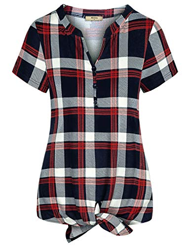 Miusey Boutique Clothing for Women,Notch Collar Maternity Clothes Baggy Bow Knot Asymmetric Hem Button Front Plaid Print Shirt Female Elegant Blouse for Daily Navy Blue XXL