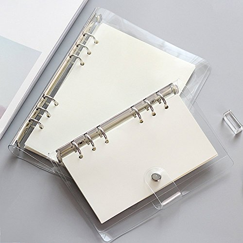 Zhi Jin estándar 6agujeros transparente PVC blando portátil ronda Ring Binder Protectora Hojas Sueltas Carpeta,...