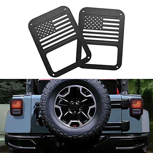 AMERICAN MODIFIED Jeep Wrangler Taillights Covers Tail Light Guard Rear Light Cover Black America Flag Jeep Wrangler Accessories JK JKU & Unlimited Rubicon Sahara Sports,2007-2018-Matte Black