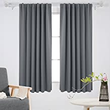 Deconovo Room Darkening Back Tab Thermal Insulated Blackout Curtains 52W x 63L Inch One Pair Light Grey