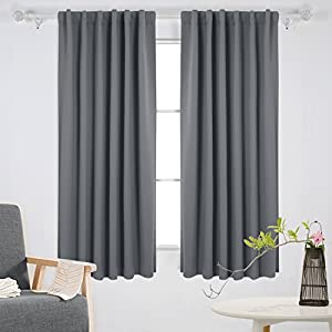 Deconovo Rod Pocket and Back Tab Curtains Blackout Curtains Room Darkening Blinds Thermal Insulated Curtains for Patio Door 52x63 Inch Light Grey 2 Panels