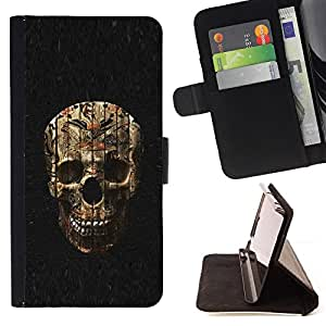 BullDog Case - FOR/Samsung Galaxy S4 Mini i9190 / - / SKULL EVIL HALLOWEEN DEATH METAL /- Monedero de cuero de la PU Llevar cubierta de la caja con el ID Credit Card Slots Flip funda de cuer