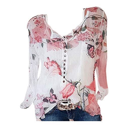 UONQD Womens 3/4 Bell Sleeve V Neck Lace Patchwork Blouse Casual Loose Shirt Tops(XXX-Large,White)