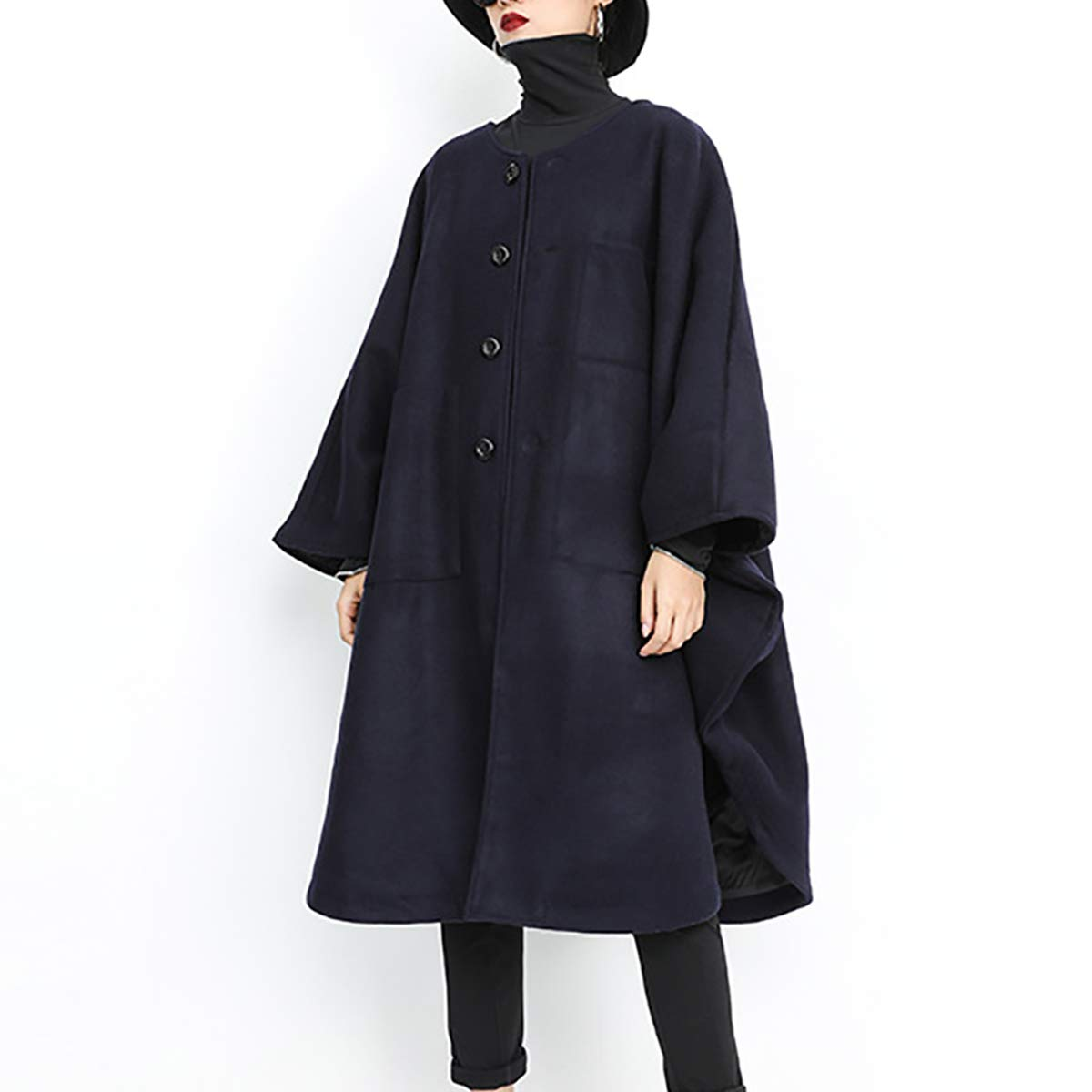 Black Women's Plush Long Coat Winter Warm Loose Cardigan Bat Cloak,Black,F