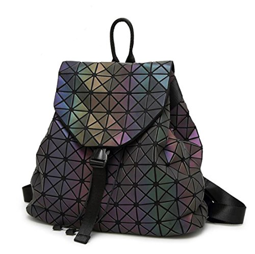 Backpack Large Bag Travel Lattice Backpack Noctilucent for Bags Geometric a Luminous Diamond Lattice Teenage Girls Mochila Leather Noctilucent T020 qP0Sf