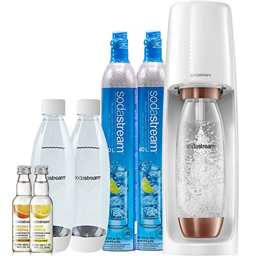 SodaStream Fizzi Sparkling Water Maker Bundle (Rose Gold), with CO2, BPA free Bottles, and 0 Calorie Fruit Drops Flavors