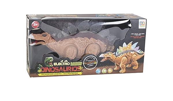 DQTOYS Dinosaurio Stegosaurus Andador con Luz y Sonido de 34 ...