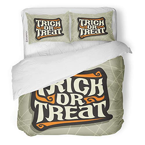 Emvency 3 Piece Duvet Cover Set Brushed Microfiber Fabric Breathable Halloween Slogan Trick Treat for Quote of Words on Gray Abstract Hand Lettering Bedding Set with 2 Pillow Covers Full/Queen Size -