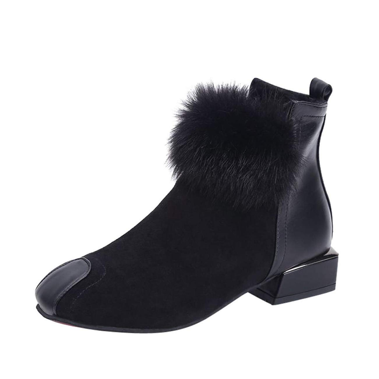 Chaussures De Securite Femmes Femmes Moelleux Fausse Fourrure Chaussures Martain Boots Suede Cheville Bottes Square Toe Boot HCFKJ-Js