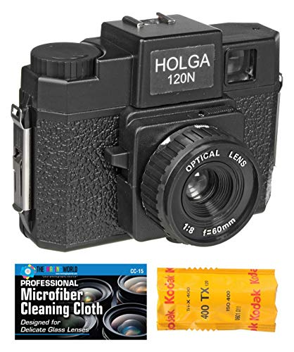 Holga 120N Medium Format Film Camera (Black) with 120 Film Bundle and Microfiber Cloth