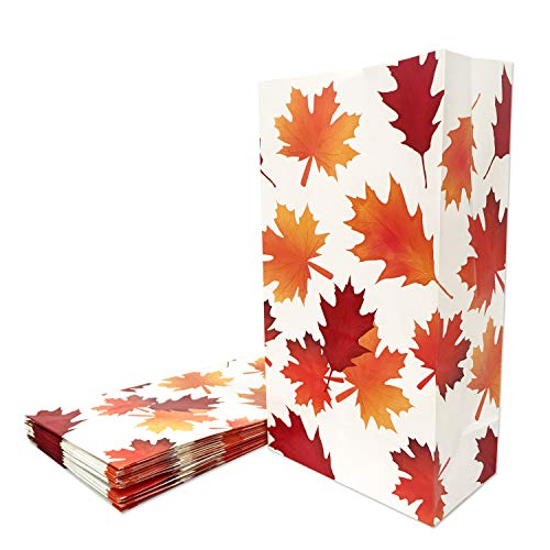 24 Packs Party Favor Bags Fall Leaves Party Treat Bags Autumn Gift Bags -