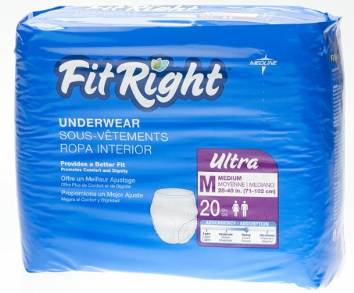 """Medline FIT23005Z FitRight Ultra Protective Underwear, 28-40"""" (Pack of 20)"""