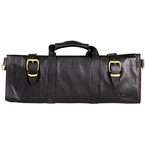 Boldric Boldric Black Leather Knife Bag - 18 Pockets