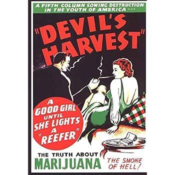 VINTAGE DEVIL/'S HARVEST MARIJUANA SMOKE OF HELL MOVIE POSTER A4 PRINT
