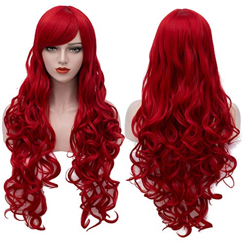 Extra Long Red Wigs Cosplay Party Wig Spiral Curly Synthetic Hair Wigs for Women 32 Inches BU144]()