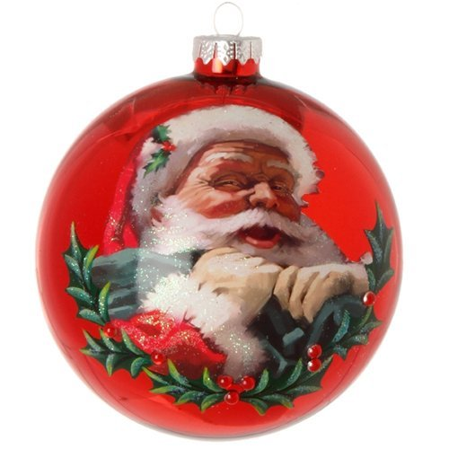 Santa Glass Ball Ornament - Jolly Santa Claus with Sack Red Glass Ball Christmas Tree Ornament, 5 Inches