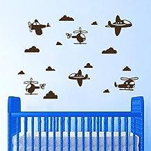 Wall Decals Plane Flight Air Airplane Helicopter Clouds Vinyl Sticker Nursery Room Bedroom Decal Baby Boy Home Decor Art Murals DA3702