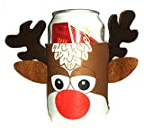 Reindeer Rudolph Beer Can Huggie Cover Christmas Xmas Ugly Sweater Party Cooler
