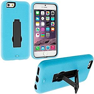 Accessory Planet(TM) Baby Blue / Black Heavy Duty Hybrid Hard/Soft Silicone Case Cover with Stand Accessory for Apple iPhone 6 (4.7)