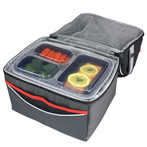 freshware 7 pack 3 compartment bento lunch boxes with lids stackable reusable microwave. Black Bedroom Furniture Sets. Home Design Ideas