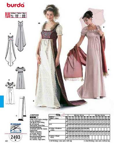 Spanish Renaissance Costumes (BURDA 2493 JOSEPHINE RENAISSANCE COSTUME (SIZE 10-22) SEWING PATTERN)