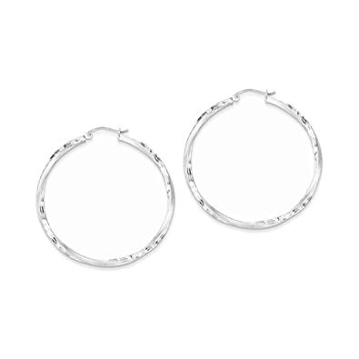 54cbca0dc Image Unavailable. Image not available for. Color: Sterling Silver Rhodium- plated Satin & Diamond Cut Twist Hoop Earrings