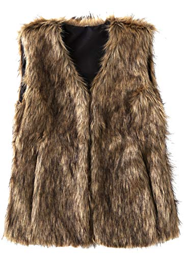 SUNDAY ROSE Women's Faux Fur Vest Warm Sleeveless Jacket Gilet with Pockets,Color Brown,Size S ()
