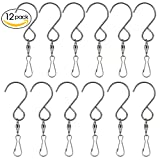 Swivel Clip Hanging Hooks Stainless Steel for Hanging Wind Spinners Wind Chimes Crystal Twisters Party Supply-12 Pack