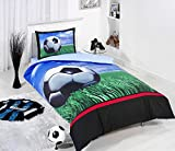 LaModaHome 3 Pcs Twin and Single Bedroom Bedding Soft Colored 100% Cotton Ranforce Single Quilt Duvet Cover Set Soft Relaxing Comfortable Pattern Design Football Soccer Single Bed with Flat Sheet