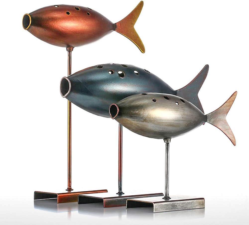 LaMei Yang Escultura de Peces submarinos de 3 Piezas, Estatua de Arte Moderno de Metal Creativo artesanía de decoración del hogar, Adecuada para Sala de Estar, Estudio, Dormitorio, etc.