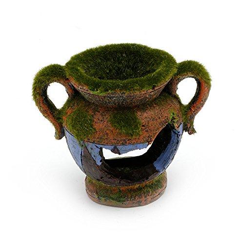 Techinal Aquarium Fish Tank Moss Vase Ornament Decor Broken Resin Fish Hide Cave Pottery
