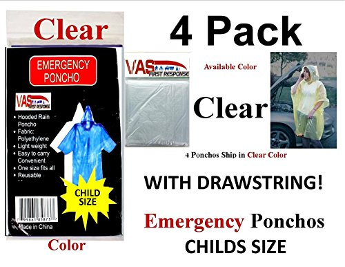 4 VAS Childrens 40 X 60 Emergency Child / Kid Rain Poncho - CLEAR