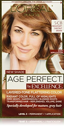 L'Oreal Paris ExcellenceAge Perfect Layered Tone Flattering Color, 5CB Medium Chestnut Brown