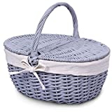 Wicker Picnic Basket with Lid and Handle Sturdy