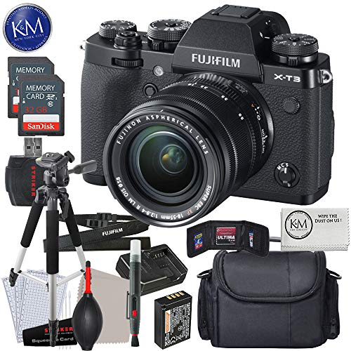 FUJIFILM X-T3 Mirrorless Digital Camera with 18-55mm Lens (Black) w/Advanced Striker Kit