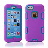 Rosepark(TM)Deluxe 3 in1 Rubber Combo Hybrid High Impact Soft Silicone Armor Dfender Case Cover for Apple iphone 5C(Purple+Blue), With Screen Protector, Stylus Pen and Cleaning Cloth