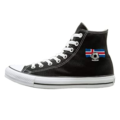 838349aba567 Men's Women's Classic High-Top Lace Up Canvas Shoe,soccer Ball With Iceland  Flag