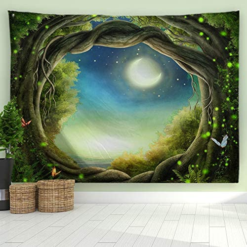 ORTIGIA Fantasy Forest Tapestry Wall Hanging Sea Outside The Round-Shaped Tree Hole Tapestries Fantasy Night Moon Nature Animal Butterfly Wall Art Ocean Blanket for Living Room Bedroom 90 Wx71