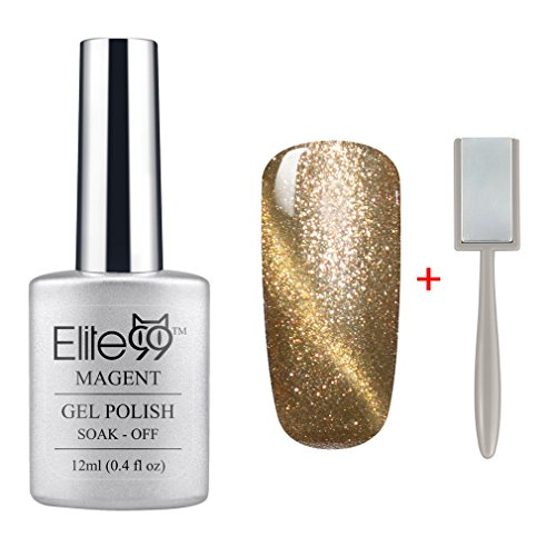 Sparkling Cats Eye - Elite99 Magnetic 3D Cat Eye Gel Polish Soak Off UV LED Nail Art Manicure Varnish Free Magnet 9910 Pearl Champagne Gold with Gold Eye