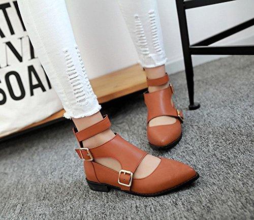 Mee Shoes Damen chunky heels Niedrig Reißverschluss Pumps Gelbbraun