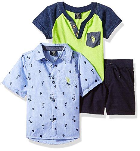 - U.S. Polo Assn. Baby Boys Sleeve, T-Shirt and Short Set, Palm Trees Sailboats neon Lime Multi Plaid, 12M