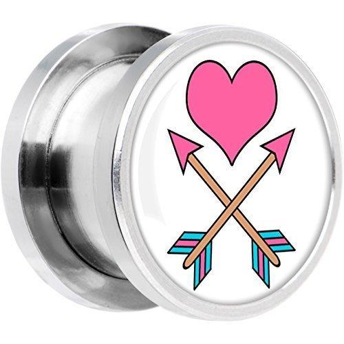 BODY CANDY ACERO INOXIDABLE Tatuaje Inspirado Rosa Corazón Cupidos FLECHAS Tornillo Ajuste Enchufe Par 1.4cm: Amazon.es: Joyería