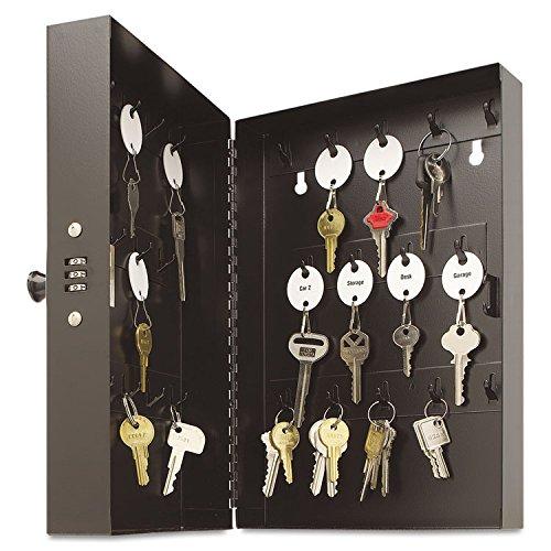 SteelMaster 201202804 Hook-Style Key Cabinet, 28-Key, Steel, Black, 7-3/4