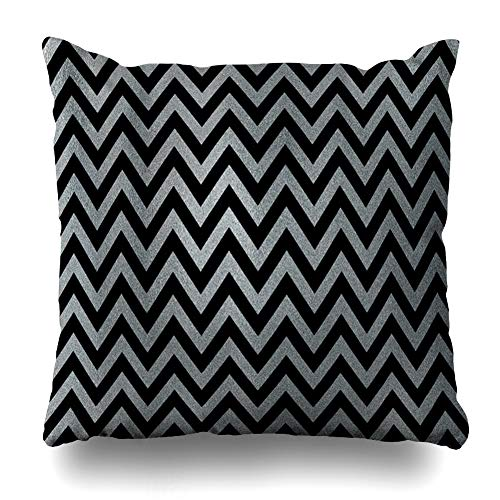 - Ahawoso Throw Pillow Cover Square 20x20 Inches Shine Gray Abstract Silver Stripes On Black Chevron Anniversary Antique Birthday Bright Brush Cushion Case Home Decor Pillowcase