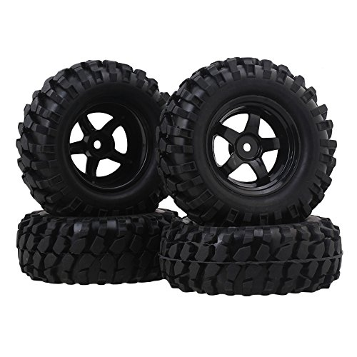 Price comparison product image BQLZR RC1:10 Black Gravel Shape Pattern Rubber Tires + Black Plastic 5-Spoke Wheel Rim for Climbing Rock Crawler Pack of 4
