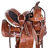 "AceRugs 10"" 12"" 13"" Children Youth Kids Western Hand Carved Leather Roping Rodeo Ranch Pony Horse Saddle TACK Set"