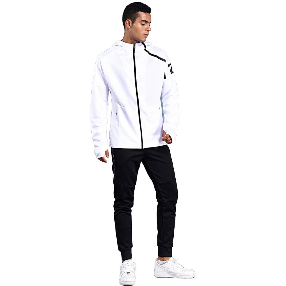 Shinestone Men's Sport Casual Tracksuit Warm Up Tracksuit Gym Training Wear (8401-White, X-Small) by Shinestone