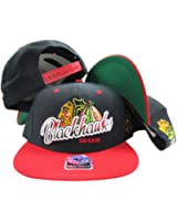 Chicago Blackhawks Black Two Tone Plastic Snapback Adjustable Plastic Snap Back Hat / Cap
