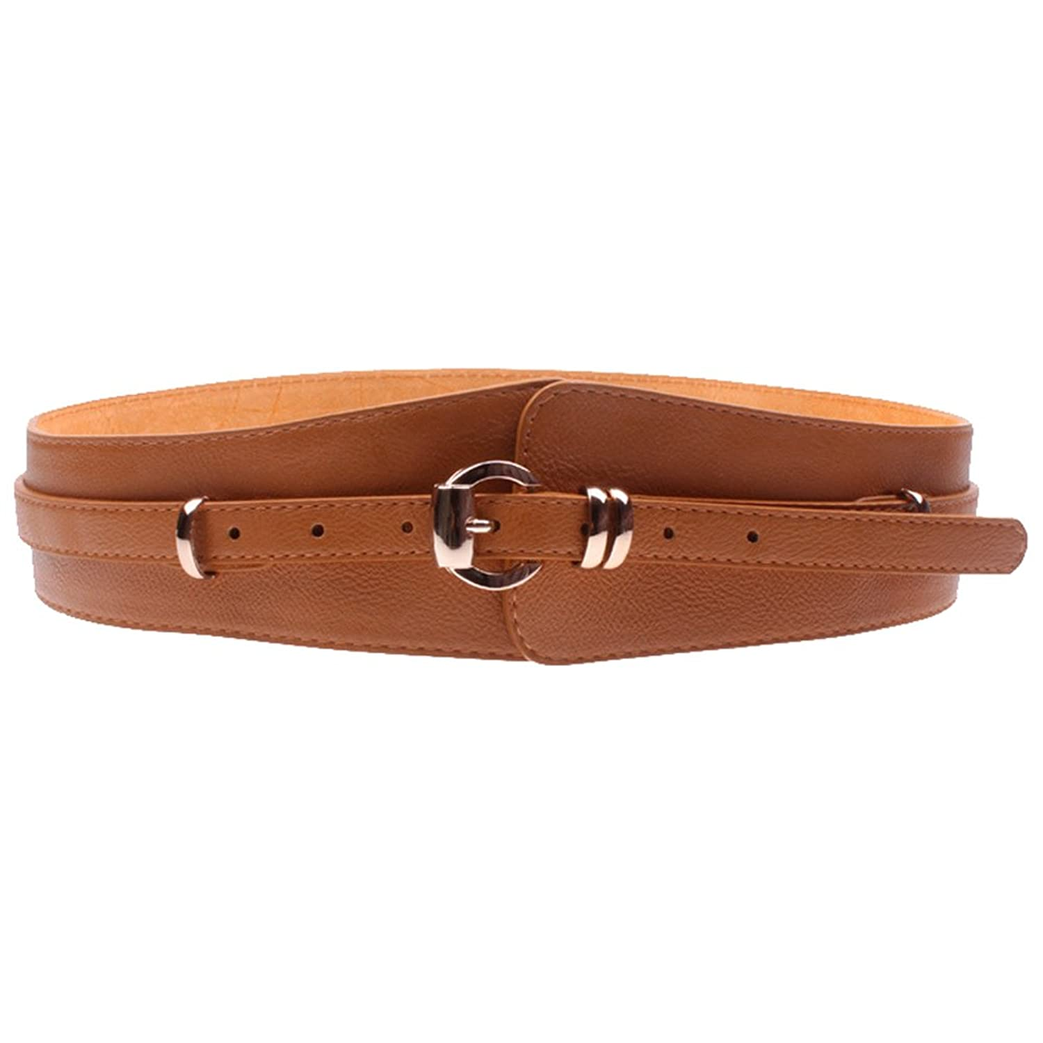 Deercon Women Vintage Metal Leather Stretch Buckle Wide Waist Belt Waistband(3 colors)